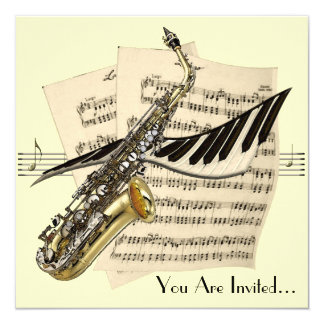 Saxophone Music Design Invitation