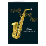 Saxophone Music Happy Birthday Greeting Card