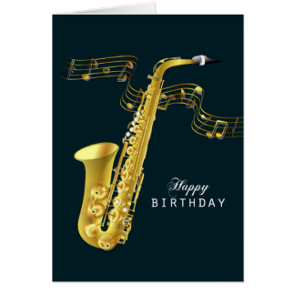 Saxophone Music Happy Birthday Greeting Card