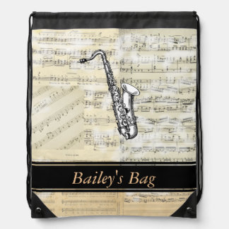 Saxophone Music Personalized Drawstring Backpack
