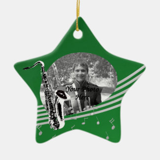 Saxophone Music Photo Green Christmas Ornament