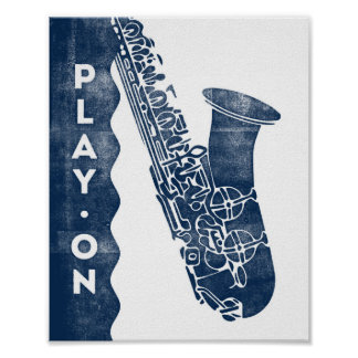 Saxophone Music Poster Blue White Play On Print