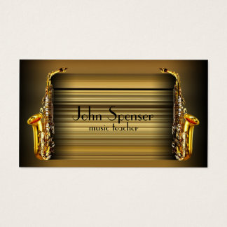 Saxophone Music Teacher Retro Business Card