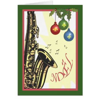 Saxophone New Orleans Jazz Christmas Card