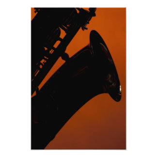 Saxophone on Gold Spotlight Background Photograph