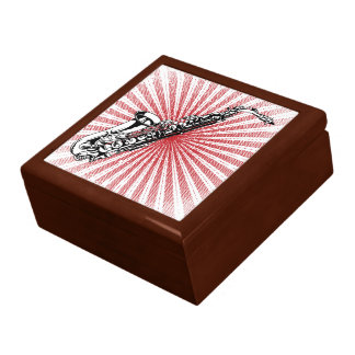 Saxophone on Grunge Red Sunburst Trinket Box