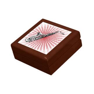 Saxophone on Grunge Red Sunburst Trinket Boxes