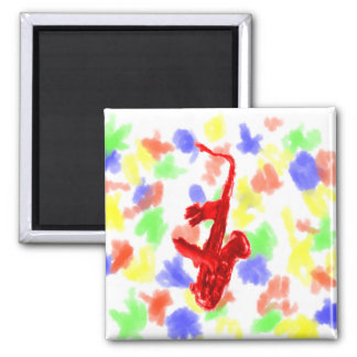 Saxophone painting, red version with red hands square magnet