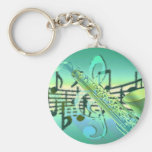 Saxophone Pastel Abstract Design Basic Round Button Key Ring