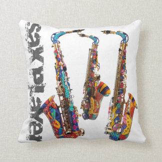 Saxophone Photo Print Square Pillow by Juleez