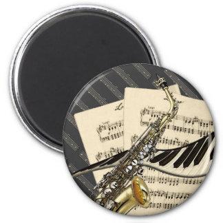 Saxophone & Piano Music 6 Cm Round Magnet