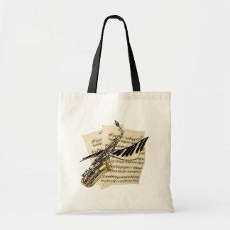 Saxophone & Piano Music Budget Tote Bag