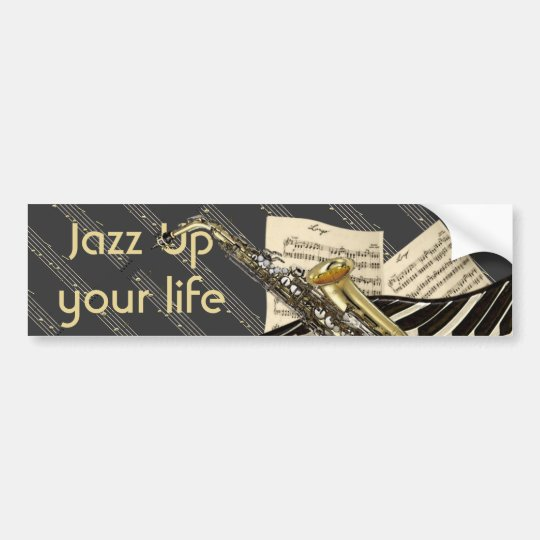 Saxophone & Piano Music Bumper Sticker