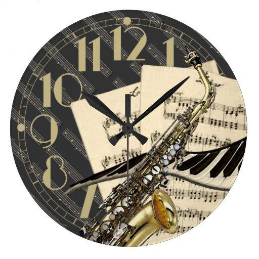 Saxophone & Piano Music Wall Clock