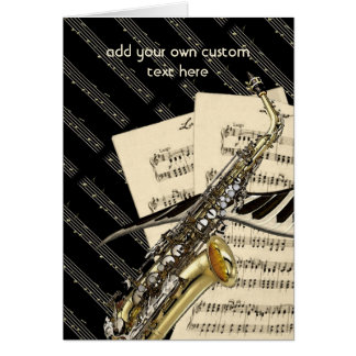 Saxophone & Piano Music Design Personalized Card