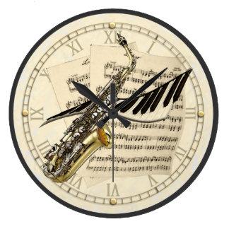 Saxophone & Piano Music Design Wall Clock