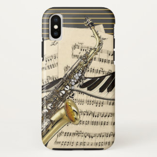 Saxophone & Piano Music Illustration iPhone X Case