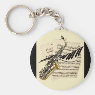 Saxophone & Piano Music Keyring Basic Round Button Key Ring
