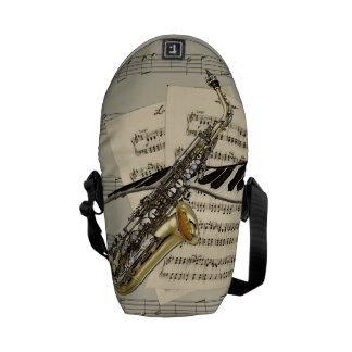 Saxophone & Piano Music Mini Messenger Bags
