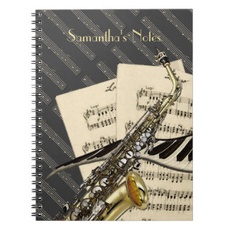 Saxophone & Piano Music Spiral Notebooks