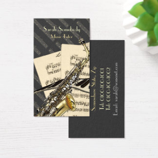 Saxophone & Piano Music Personalized Business Card