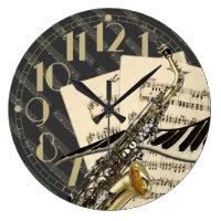 Saxophone & Piano Music Clock