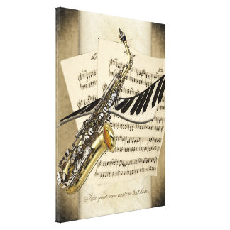 Saxophone & Piano Personalized Wall Canvas Stretched Canvas Print
