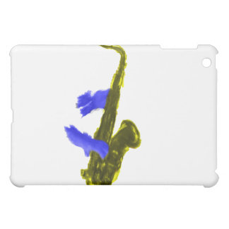 Saxophone played by two hands, blue and  yellow iPad mini cover