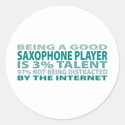 Saxophone Player 3% Talent Round Sticker