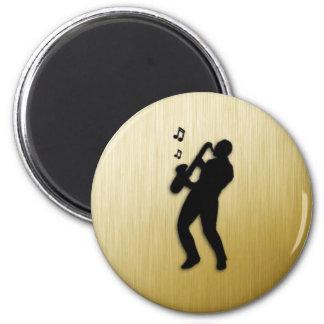 Saxophone Player 6 Cm Round Magnet