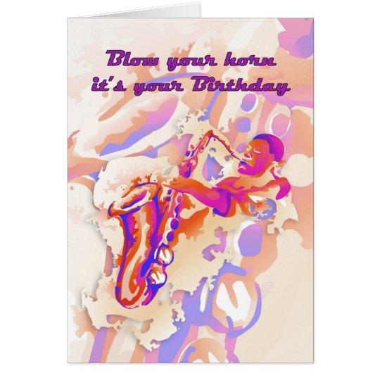 Saxophone Player Birthday Card