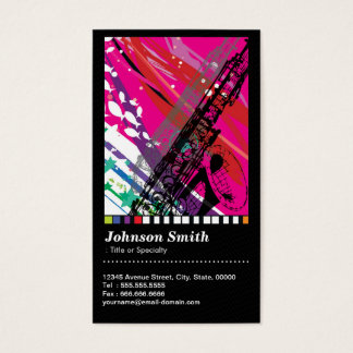 Saxophone Player - Cool Abstract Drawing - QR Code Business Card