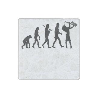 Saxophone Player Evolution Stone Magnet