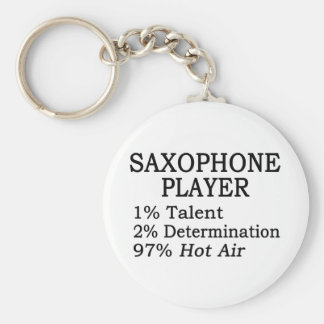 Saxophone Player Hot Air Basic Round Button Key Ring