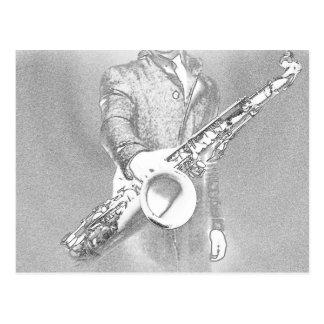 saxophone player... postcard