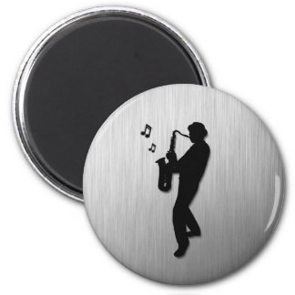 Saxophone Player Silver Magnet