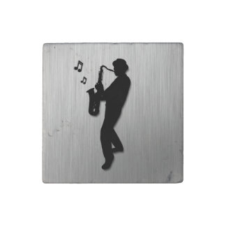 Saxophone Player Silver Stone Magnet