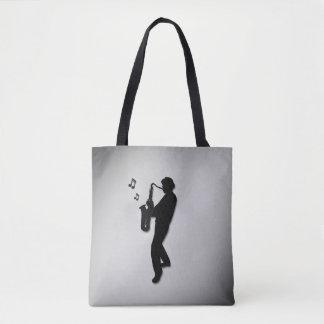 Saxophone Player Silver Tote Bag