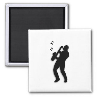 Saxophone Player Square Magnet