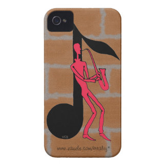 Saxophone playing man pen ink drawing case iPhone 4 Case-Mate cases