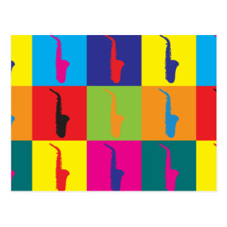 Saxophone Pop Art Post Card
