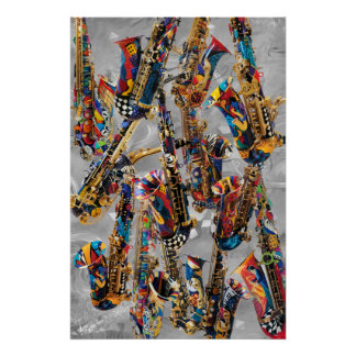 Saxophone Poster Colorful Sax Wall Art