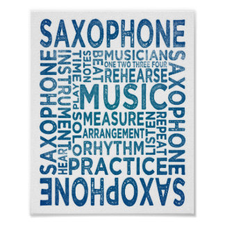 Saxophone Poster Ink Typography Art Print