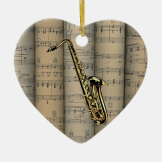 Saxophone ~ Rolled Sheet Music Background ~ Music Christmas Ornament
