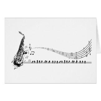 Saxophone ~ Sax Music & Blackbirds Card