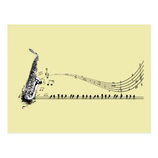 Saxophone ~ Sax Music & Blackbirds Postcard
