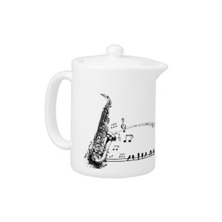 Saxophone Sax Whimsical Birds Art Teapot