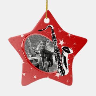 Saxophone Shining Star Photo Christmas Ornament