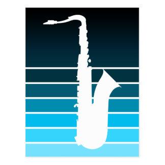 saxophone silhouette : blue fade postcard