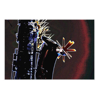 Saxophone Silhouette With Stars Print Photographic Print